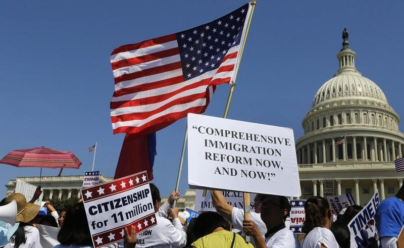 Latinos protest in favor of comprehensive immigration reform while on West side of Capitol Hill in Washington